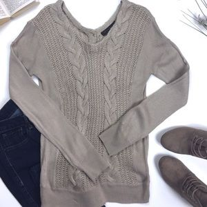 The Limited Tan Button Back Cableknit Sweater XS
